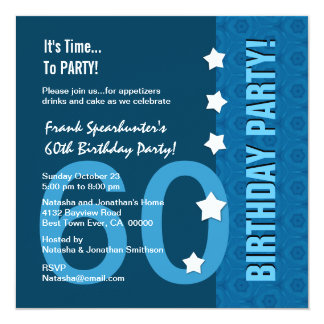 60th Birthday Modern Hues of Blue Funny D60B 13 Cm X 13 Cm Square Invitation Card