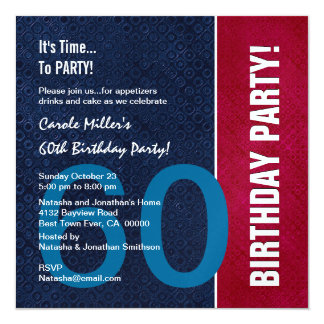 60th Birthday Modern Red Blue White Metallic v8 Card