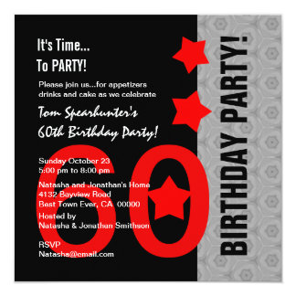60th Birthday Modern Red Silver Black Funny A01 13 Cm X 13 Cm Square Invitation Card