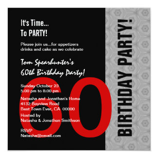 60th Birthday Modern Red Silver Black Funny W1471 13 Cm X 13 Cm Square Invitation Card