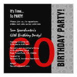 60th Birthday Modern Red Silver Black Funny W1471 Personalised Announcements