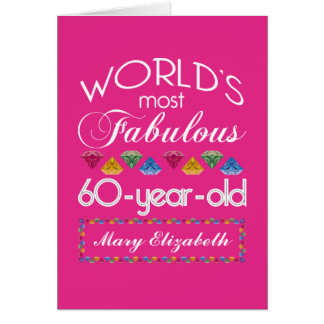 60th Birthday Most Fabulous Colorful Gems Pink Greeting Card