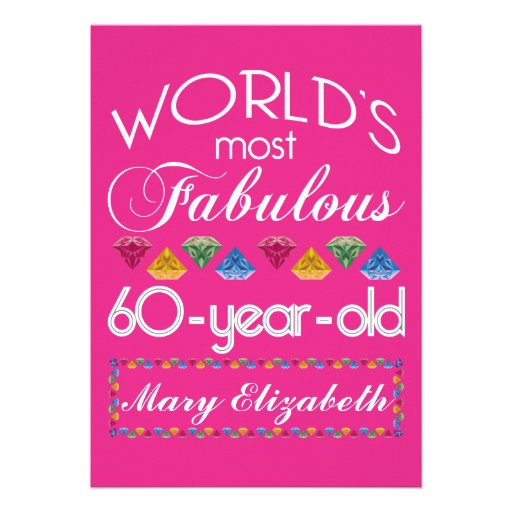 60th Birthday Most Fabulous Colorful Gems Pink Cards