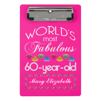 60th Birthday Most Fabulous Colorful Gems Pink Mini Clipboard