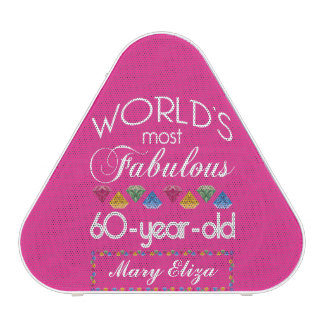 60th Birthday Most Fabulous Colorful Gems Pink Speaker