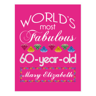 60th Birthday Most Fabulous Colorful Gems Pink Postcard