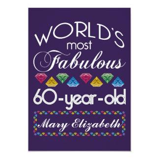 "60th Birthday Most Fabulous Colorful Gems Purple 5"" X 7"" Invitation Card"