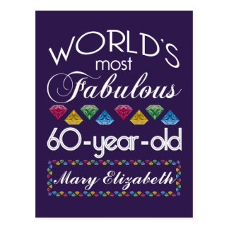 60th Birthday Most Fabulous Colorful Gems Purple Postcard