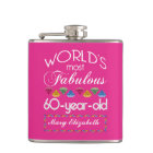 60th Birthday Most Fabulous Colourful Gems Pink Hip Flask