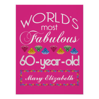 60th Birthday Most Fabulous Colourful Gems Pink Poster