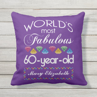60th Birthday Most Fabulous Colourful Gems Purple Outdoor Cushion