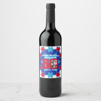 60th birthday name photo custom wine labels