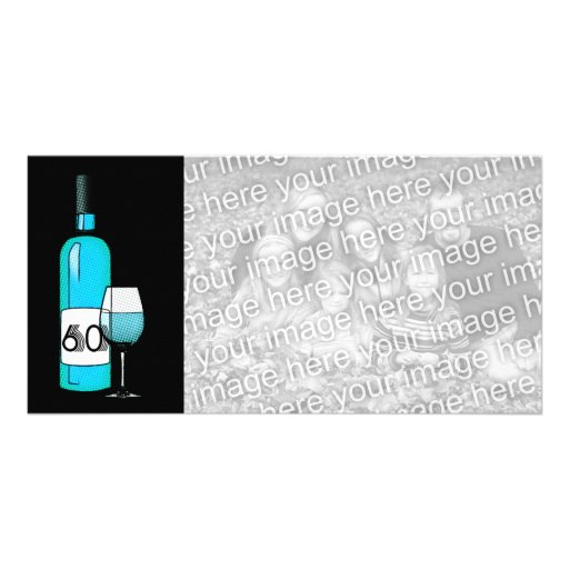 60th birthday or anniversary : wine bottle & glass personalized photo card