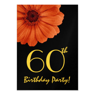 60th Birthday Orange Gold Black Daisy Metallic Card