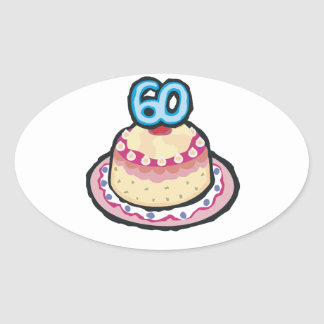 60th Birthday Oval Sticker