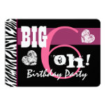 60th Birthday Party Big 6 Oh Pink Zebra A02 Custom Invitation