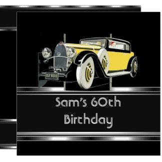 60th Birthday Party Black Vintage Car Mans Card