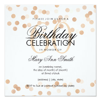 60th Birthday Party Copper Foil Glitter Lights 13 Cm X 13 Cm Square Invitation Card