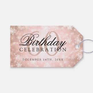60th Birthday Party Copper Winter Wonderland Gift Tags