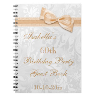 60th Birthday Party Damask and Bow Notebooks