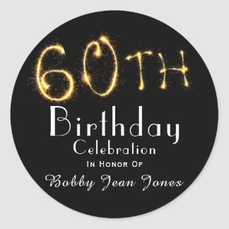 60th Birthday Party Gold Sparkler Classic Round Sticker