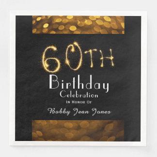 60th Birthday Party Gold Sparkler Disposable Serviette