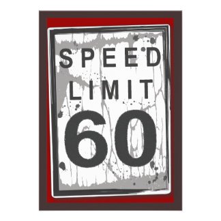 60th Birthday Party Grungy Speed Limit Sign Personalised Invites