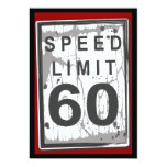 60th Birthday Party Grungy Speed Limit Sign Invite