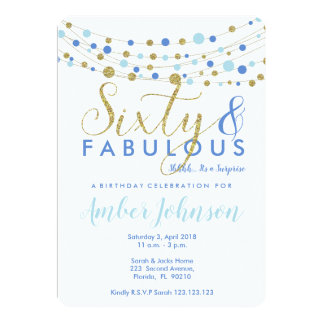 60th birthday party invitation, blue and gold, card