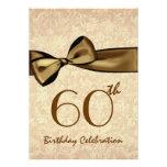 60th Birthday Party Invitation GOLD Bow