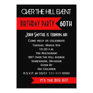 60th Birthday Party Invitation Over the Hill