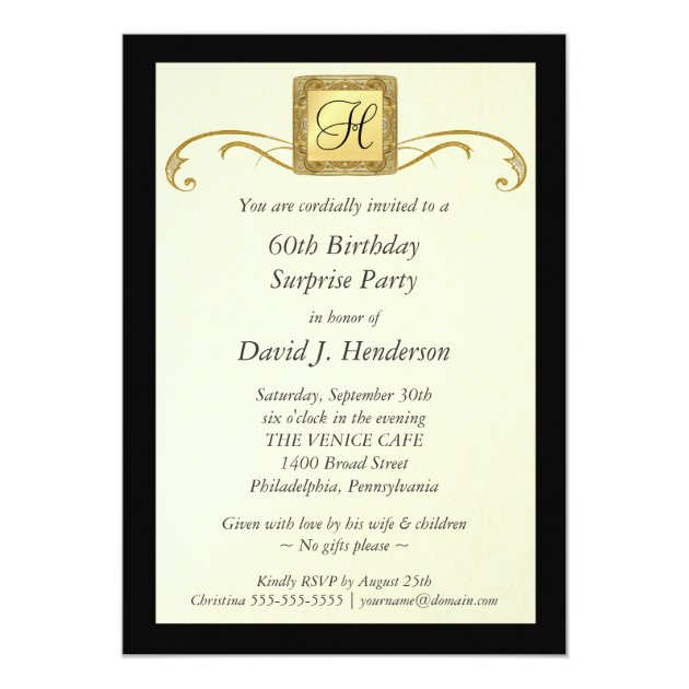 60th Birthday Party Invitations - Formal for Men | Zazzle