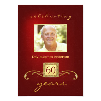 60th Birthday Party Invitations- Red Gold Monogram