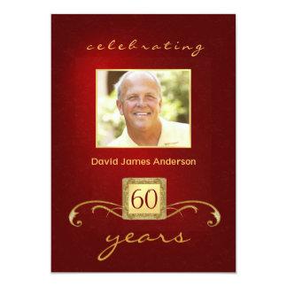60th Birthday Party Invitations- Red Gold Monogram 13 Cm X 18 Cm Invitation Card
