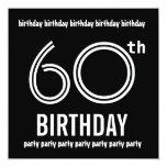 60th Birthday Party Invite Black White Template