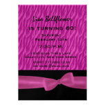 60th Birthday Party Magenta Zebra and Bow W1499 Personalised Invitation