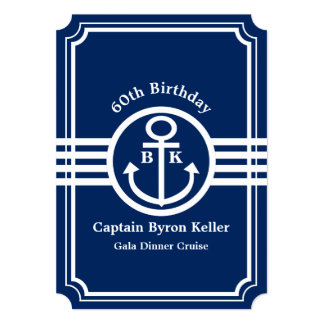 60th Birthday Party on a Boat Nautical Custom 13 Cm X 18 Cm Invitation Card
