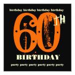 60th Birthday Party Orange Grunge Invitation 13 Cm X 13 Cm Square Invitation Card