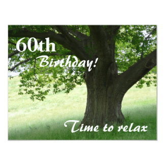 """60th Birthday Party-Relax/with Quote 4.25"""" X 5.5"""" Invitation Card"""
