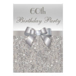 60th Birthday Party Silver Sequins, Bow & Diamond Personalized Announcements