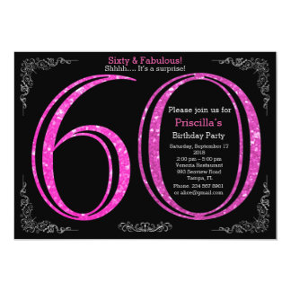 60th, Birthday party, Sixty, Gatsby, black silver 13 Cm X 18 Cm Invitation Card