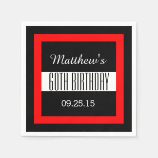 60th Birthday Party Solid Colored Square Frame Paper Napkin