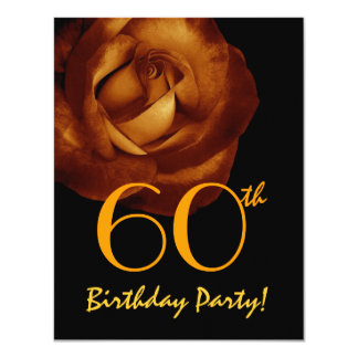 60th Birthday Party Template Gold Rose W428 11 Cm X 14 Cm Invitation Card
