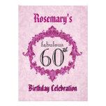 60th Birthday Party Vintage Pink Frame S312 Custom Invites