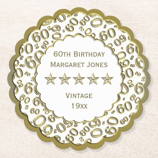 60th Birthday Party White /Gold Pattern Theme Paper Coaster