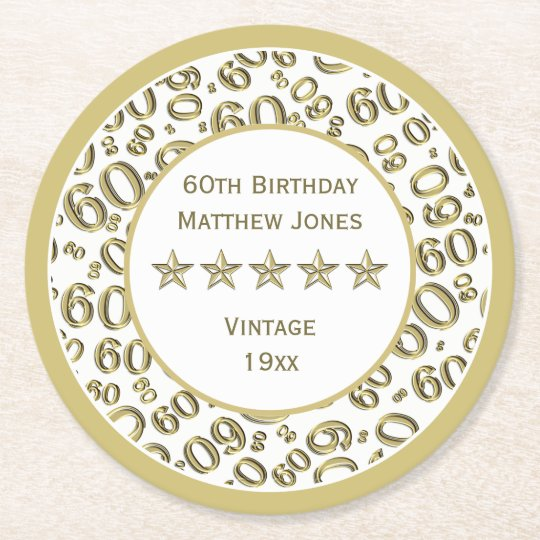 60th Birthday Party White /Gold Round Pattern Round Paper Coaster