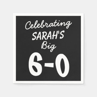 60th Birthday Personalized Black Party Napkins Disposable Serviette