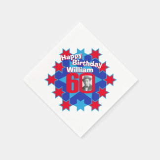 60th birthday photo and name red star napkins disposable serviette