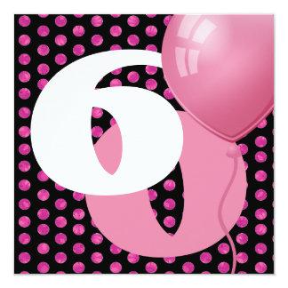 60th Birthday Polka Dots and Balloons A04 13 Cm X 13 Cm Square Invitation Card