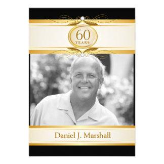 60th Birthday Surpise Party - Black Gold Monogram Custom Invite